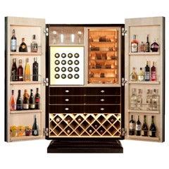 Ebony Cigar Humidor, Bar & Watch Winder, by Massimo de Munari, Handmade in Italy