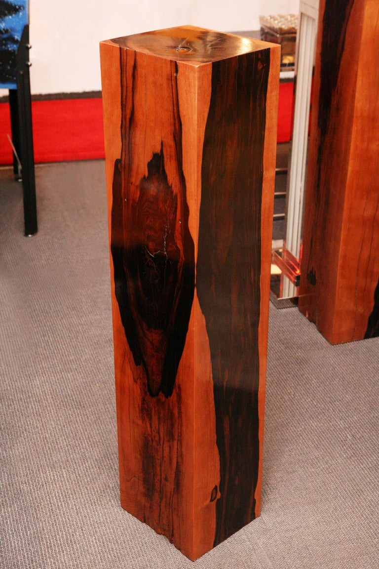 Column ebony or pedestal in solid polished and varnished ebony wood. Exceptional and unique pieces.