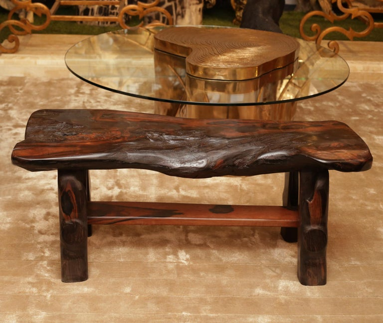 Bench Ebony Straight in natural solid ebony wood from Macassar. Hand carved piece, unique and exceptional piece.