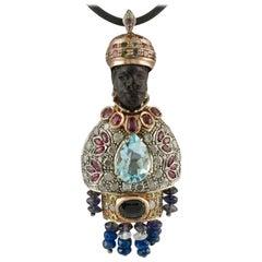 Ebony Diamonds Rubies Sapphires, Aquamarine, Tourmaline, 9 Karat Gold and Silver