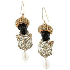 Ebony, Diamonds, Topazes, Pearls, Rose Gold and Silver Retro Moretto Earrings