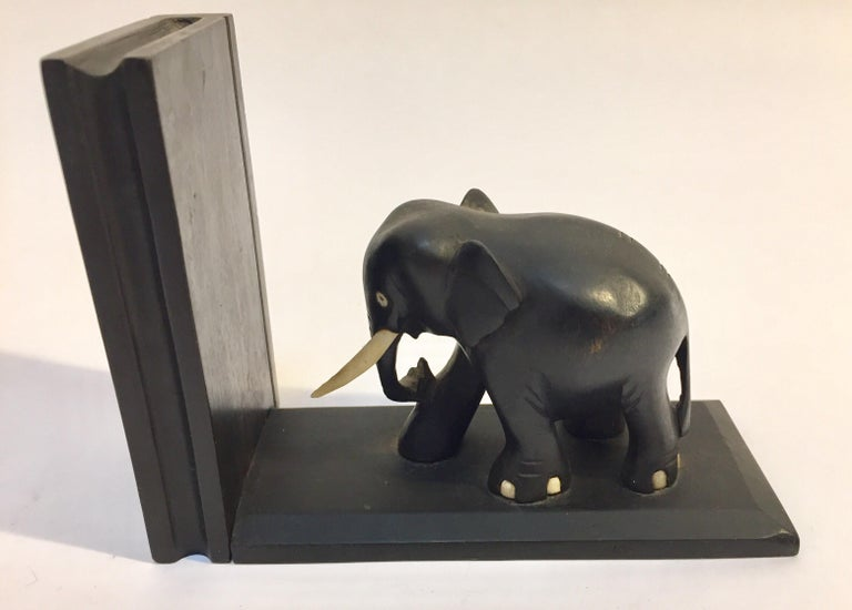Ebony Hand Carved Wooden Elephant Bookends For Sale 3