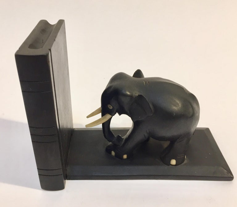 Ebony Hand Carved Wooden Elephant Bookends For Sale 6