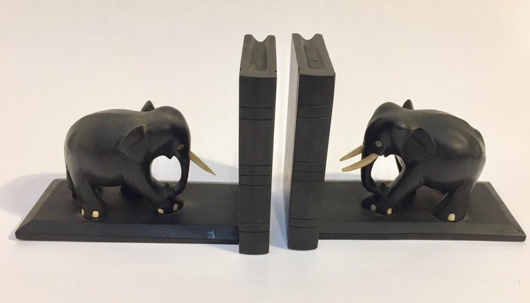 Hand-Carved Ebony Hand Carved Wooden Elephant Bookends For Sale