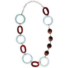 Ebony Jade Carelian 18 Karat Gold Long Necklace