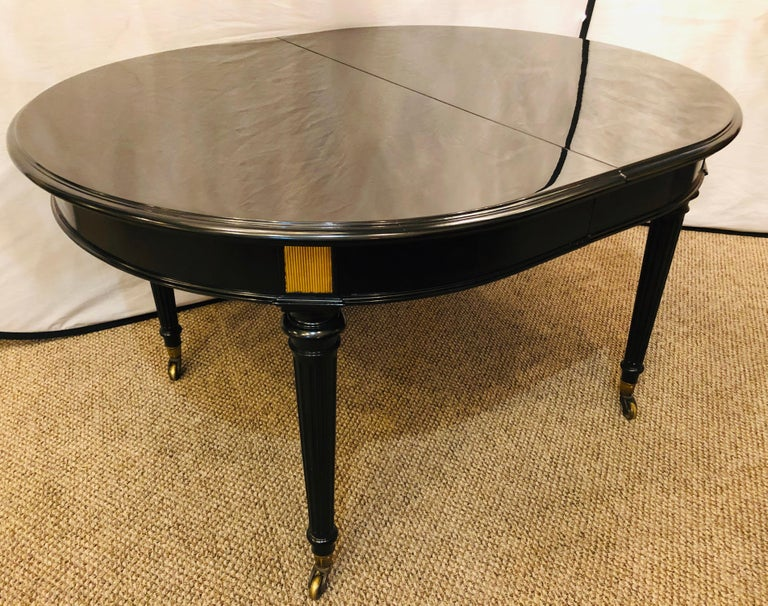 English Ebony Lacquered Hollywood Regency Louis XVI Style Crank Dining Table M. Jansen For Sale
