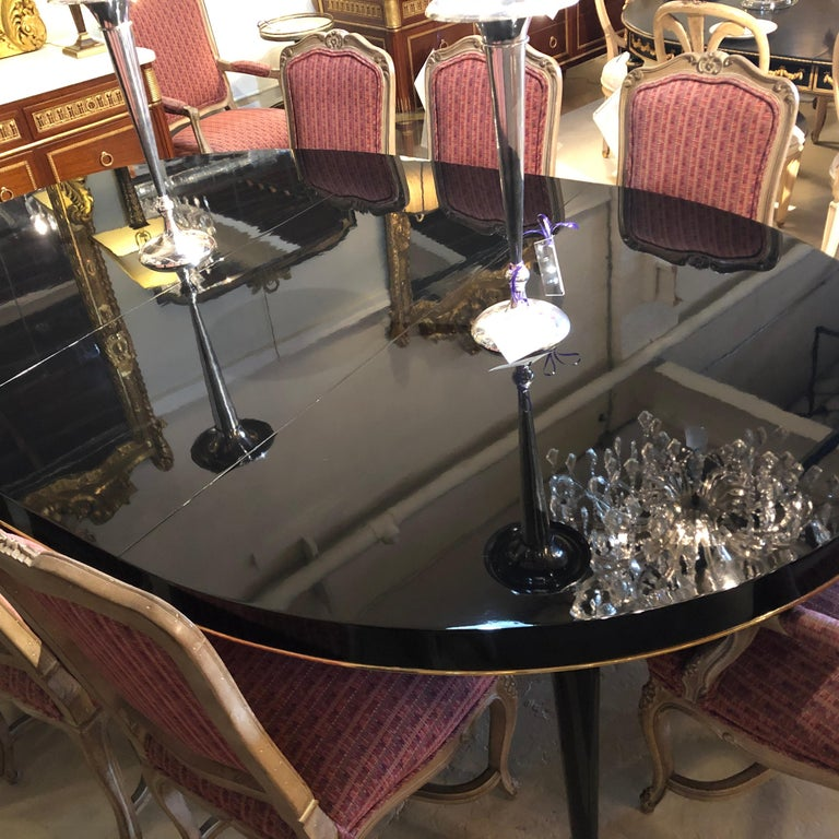 Ebony Lacquered Hollywood Regency Style Ralph Lauren Paris 1 Fifth Dining Table For Sale 7