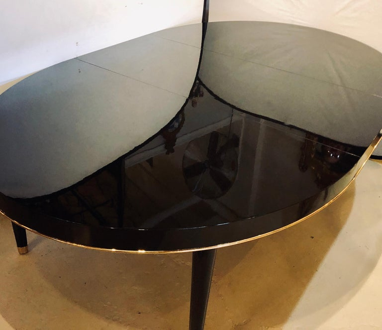 Contemporary Ebony Lacquered Hollywood Regency Style Ralph Lauren Paris 1 Fifth Dining Table For Sale