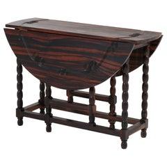 Ebony Macassar Jacobean Style Gate Leg Table or Drop-Leaf Table 1950s