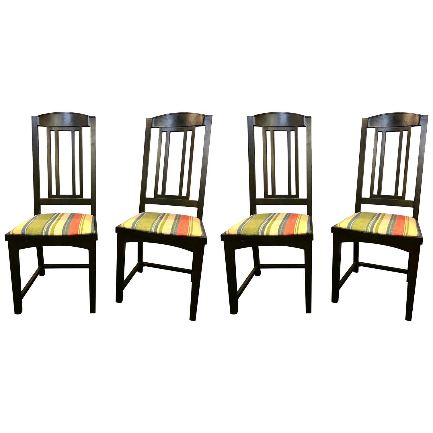 Ebony Pace Modern Collection Dining Chairs, Set of Four Slat Back