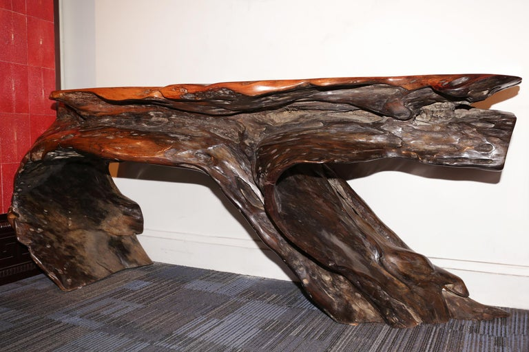 Hand-Carved Ebony Pure Console For Sale