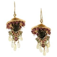 Ebony, Ruby, Rock Crystal Topaz Tsavorite Diamonds Rose Gold and Silver Earrings