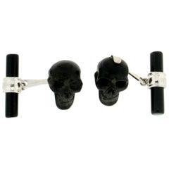 Ebony Skull 18 Karat White Gold, Onyx Barrel Cufflinks