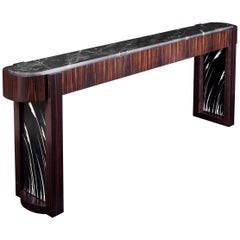 Ebony, Stone and Patenated Steel Deco Influenced Console Table, Customizable