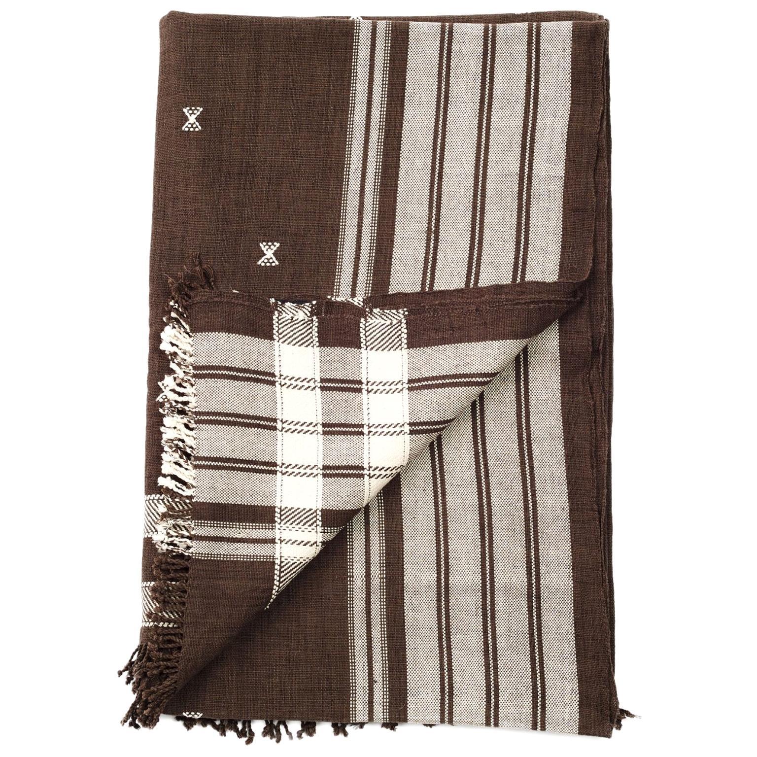 Ebony Throw / Blanket / Bedspread, Brown and Indigo, in Organic Cotton