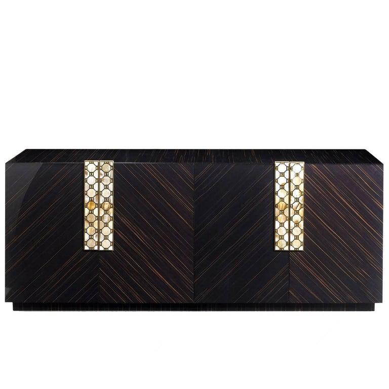 Ebony Wood Four-Door Cabinet