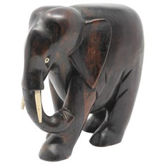 Ebony Wood Hand Carved African Elephant
