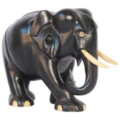 Ebony Wood Hand Carved Anglo Indian Elephant Sculpture