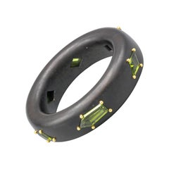 Ebony Wood Peridot 18 Karat Gold Bangle Bracelet