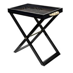 Ebony Wood Serving Table with Tray