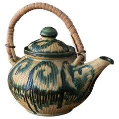EBS Klint, Small Teapot, Hand Painted Blue/Beige Stoneware, Rattan Denmark 1960s