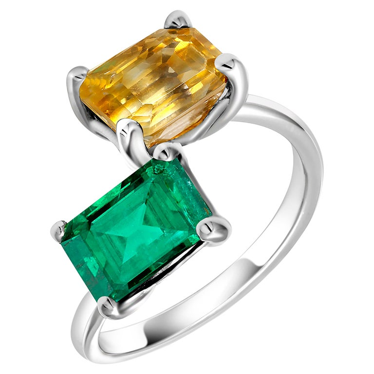 OGI EC Emerald and EC Yellow Sapphire Open Shank Modern Cocktail Ring For Sale