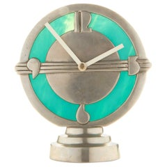 Eccentric American Art Deco Aluminum and Slag Glass Illuminated Electric Clock
