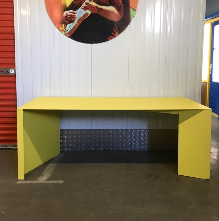 Eccentric Metal Yellow Z-Table by Claire Bataille and Paul Ibens for Bulo For Sale 2