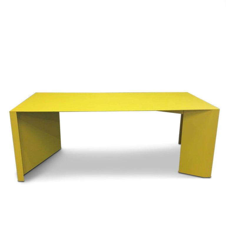 Eccentric Metal Yellow Z-Table by Claire Bataille and Paul Ibens for Bulo For Sale 4