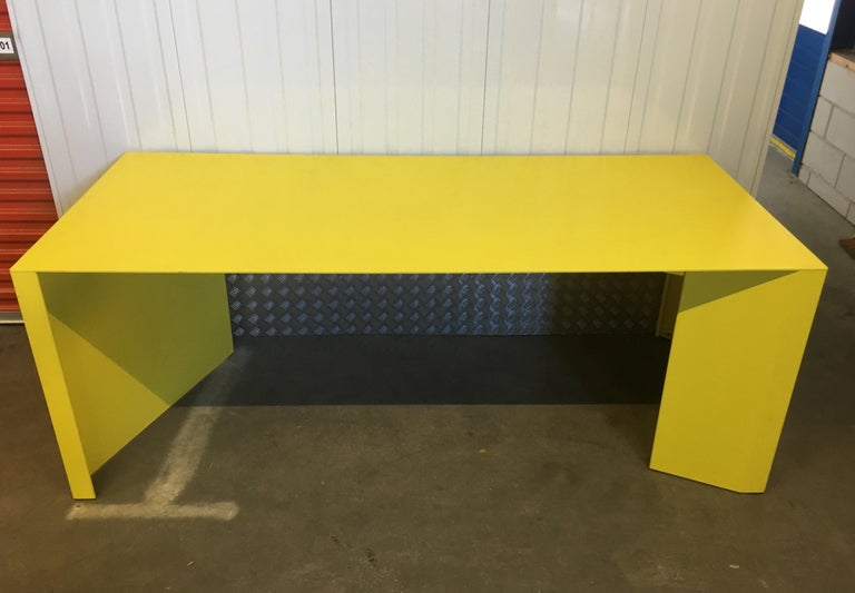 Modern Eccentric Metal Yellow Z-Table by Claire Bataille and Paul Ibens for Bulo For Sale