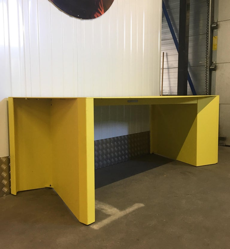 Belgian Eccentric Metal Yellow Z-Table by Claire Bataille and Paul Ibens for Bulo For Sale