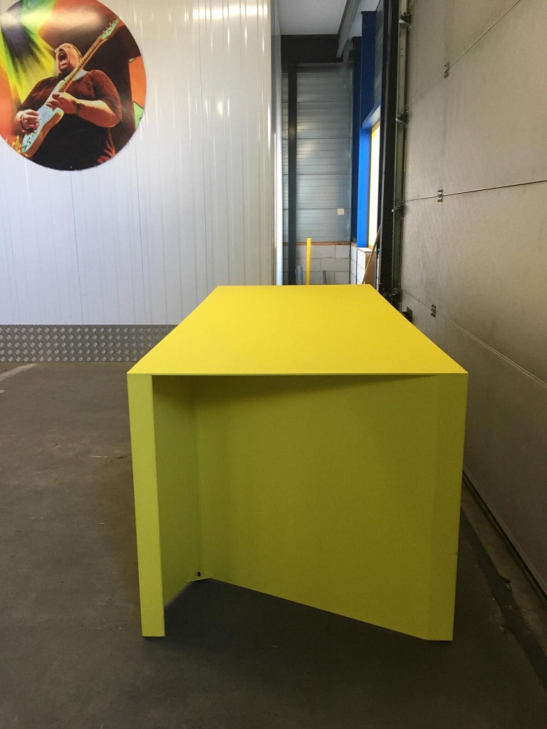 Lacquered Eccentric Metal Yellow Z-Table by Claire Bataille and Paul Ibens for Bulo For Sale