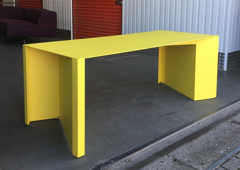Contemporary Eccentric Metal Yellow Z-Table by Claire Bataille and Paul Ibens for Bulo For Sale