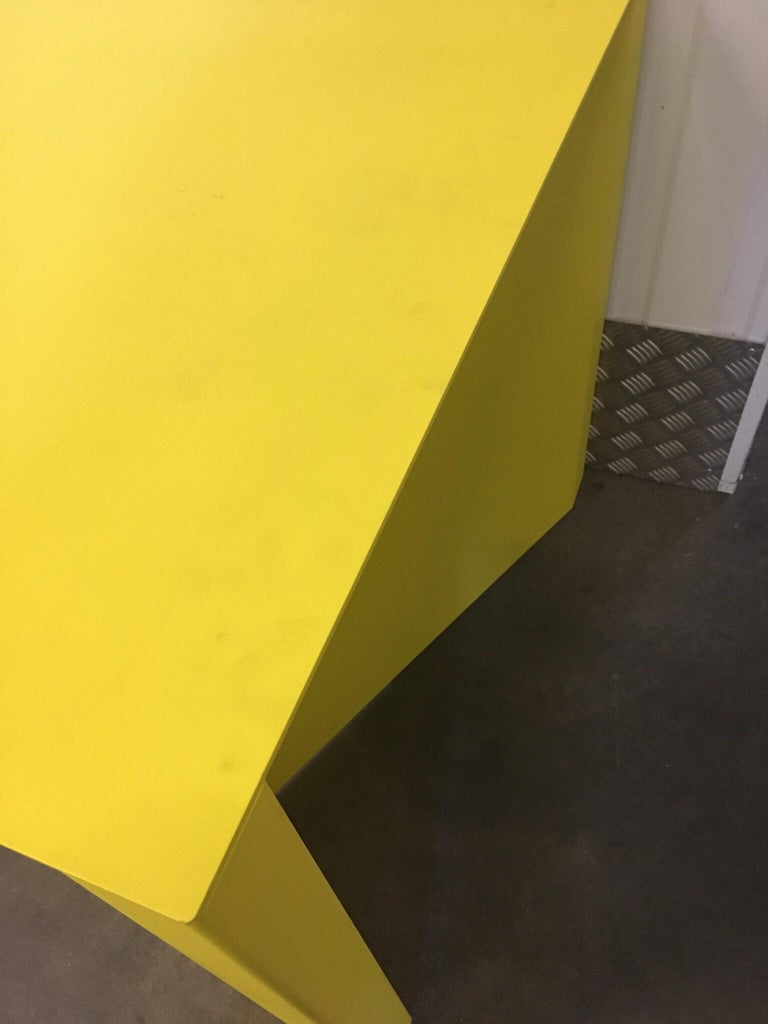 Aluminum Eccentric Metal Yellow Z-Table by Claire Bataille and Paul Ibens for Bulo For Sale