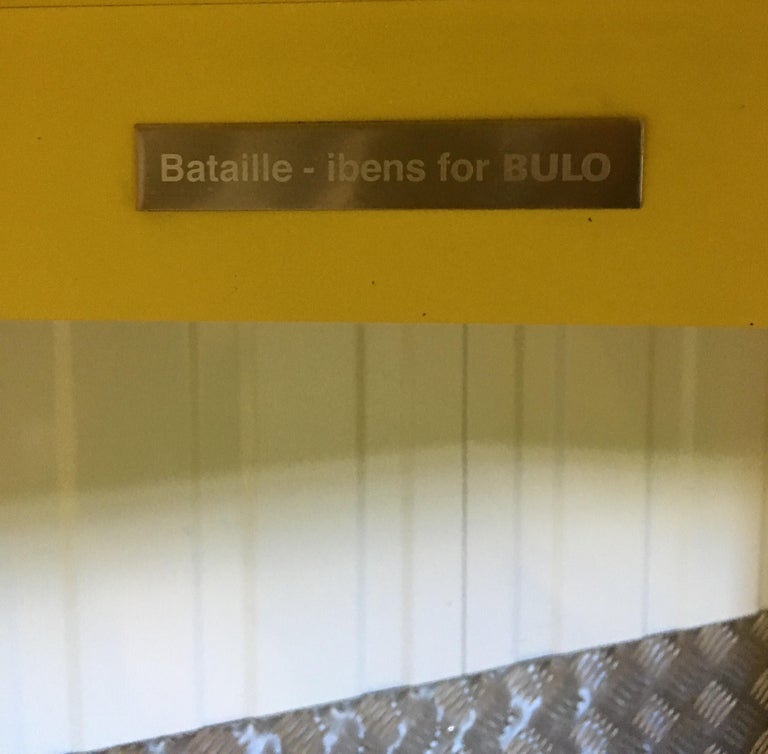 Eccentric Metal Yellow Z-Table by Claire Bataille and Paul Ibens for Bulo For Sale 1