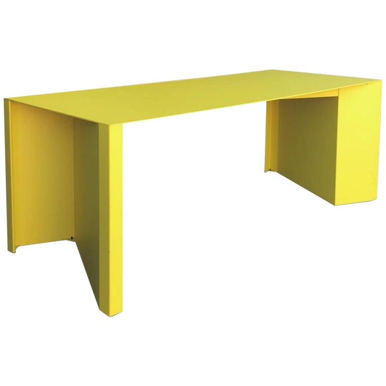 Eccentric Metal Yellow Z-Table by Claire Bataille and Paul Ibens for Bulo For Sale