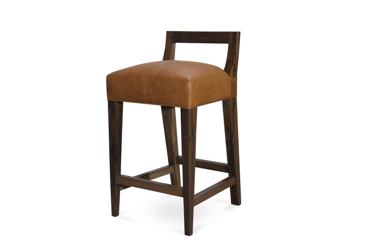 Modern Ecco Stool from Costantini in Argentine Rosewood and Leather For Sale