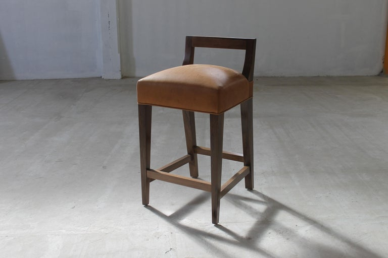 Woodwork Ecco Stool from Costantini in Argentine Rosewood and Leather For Sale