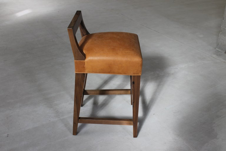 Ecco Stool from Costantini in Argentine Rosewood and Leather In New Condition For Sale In New York, NY
