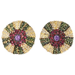 "Rosior Diamond and Pink Sapphire, Yellow Gold ""Sea Urchin"" Drop Earrings"