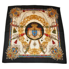 "Echo Multi-Color ""Imperial Crown"" with Black Border Silk Scarf"
