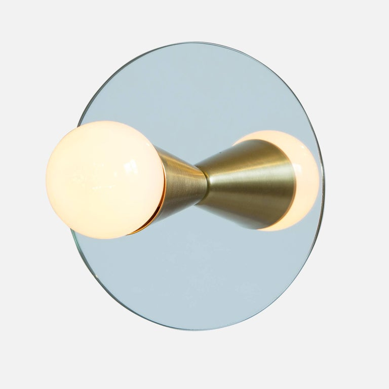 American Echo One Sconce / Flush Mount in Brass from Souda, in Stock For Sale