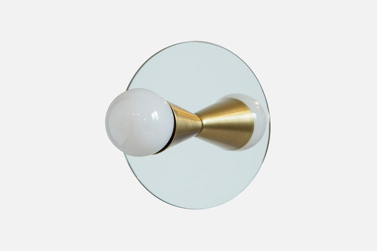 Modern Echo One Sconce Pair/Flush Mount in Brass, from Souda, In Stock For Sale