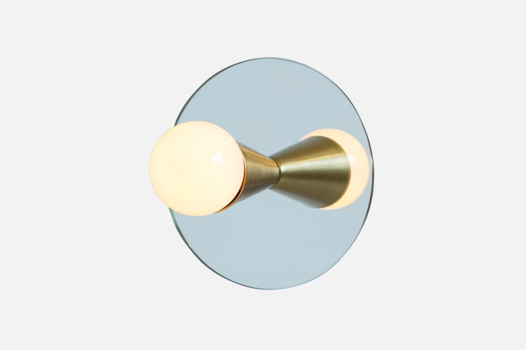 American Echo One Sconce Pair/Flush Mount in Brass, from Souda, In Stock For Sale