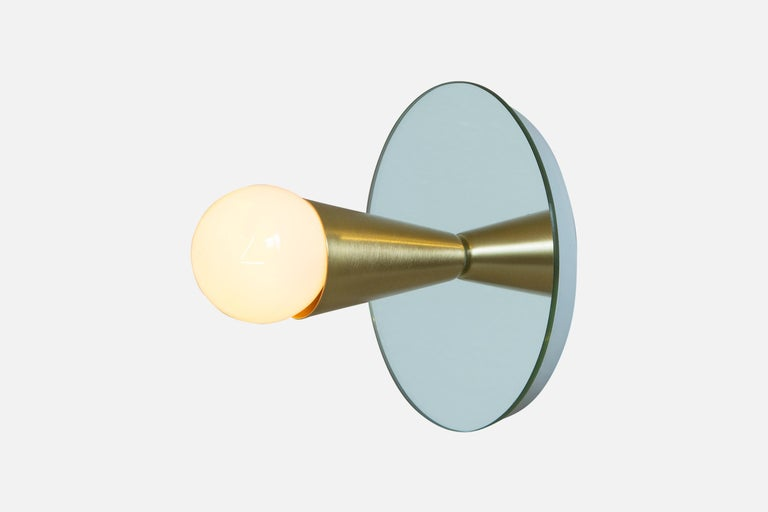 Powder-Coated Echo One Sconce Pair/Flush Mount in Brass, from Souda, In Stock For Sale