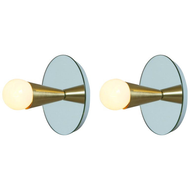 Echo One Sconce Pair/Flush Mount in Brass, from Souda, In Stock For Sale
