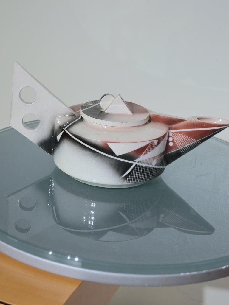 Glazed Post-Modern Porcelain Teapot dated 1984 For Sale