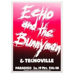 Echo & the Bunnymen Original Concert Poster for the Paradiso, Amsterdam, 1983