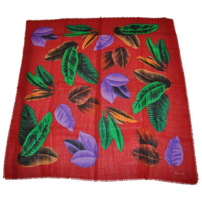 """Echo Vintage Large Burgundy """"Autumn Leafs"""" Wool Challis With Fringed Scarf For Sale"""