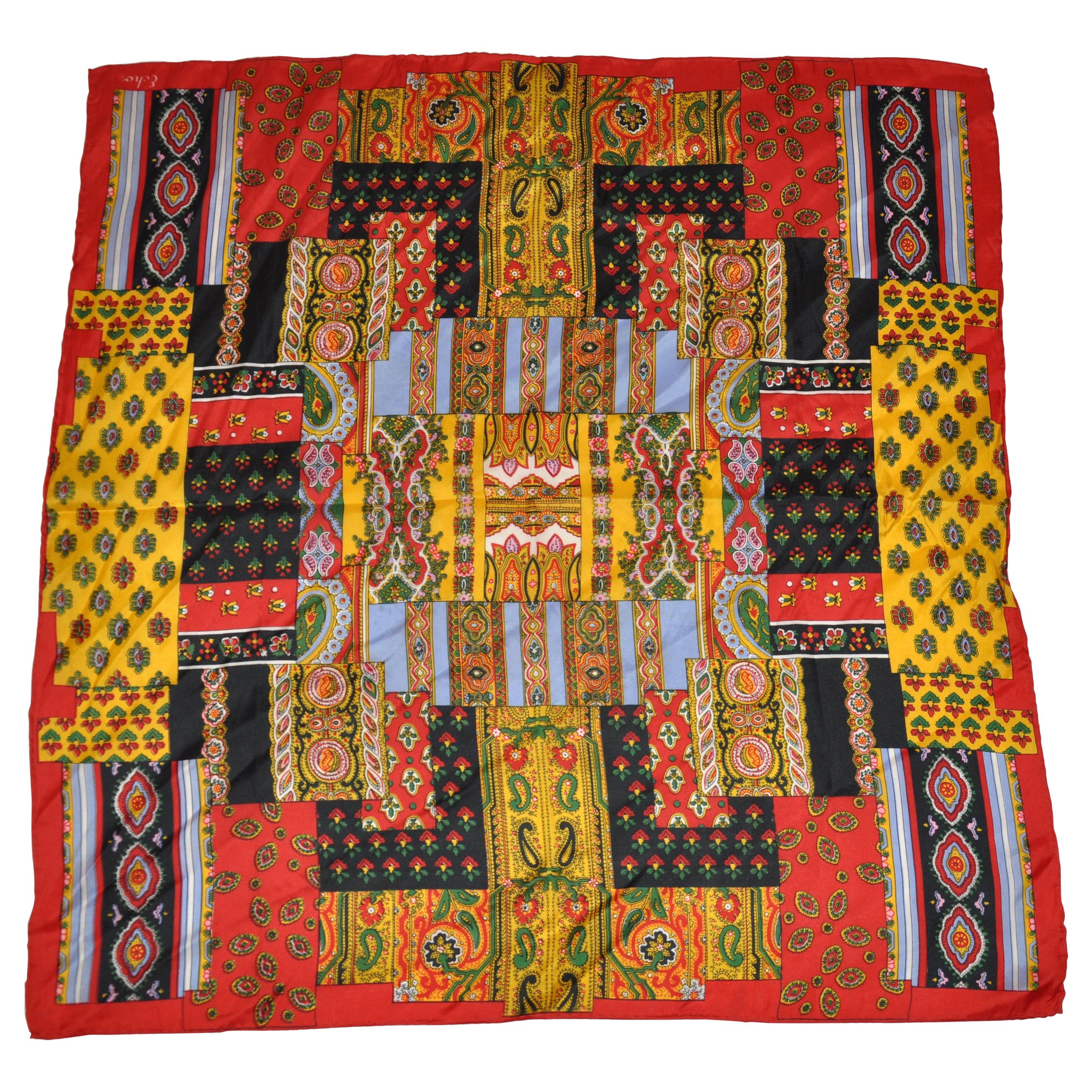 "Echo's ""Patchwork"" With Red Borders Silk Scarf"